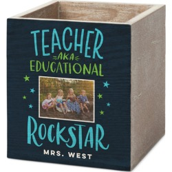 Pen and Pencil Holders: Rockstar Teacher Pen and Pencil Holder, PEN_PENCIL_HOLDER_3X4, Black