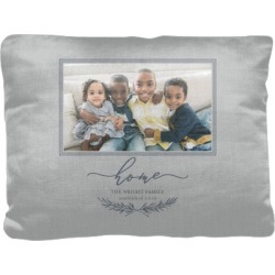 Pillows: Rustic Home Script Pillow, Cotton Weave, Pillow, 12 x 16, Double-sided, Grey found on Bargain Bro from shutterfly.com for USD $34.18