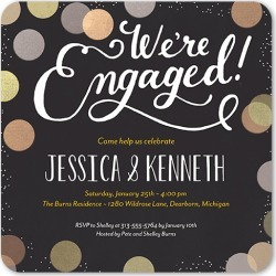 Dotted Soiree Engagement Party Invitation, Rounded Corners, Black found on Bargain Bro India from shutterfly.com for $2.69