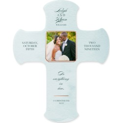 Watercolor Wedding Wall Cross, Blue