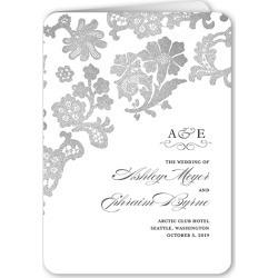 Wedding Program Cards: Luscious Lacing Wedding Program, Grey, 5x7 Folded Program