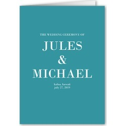Wedding Program Cards: Enchanted Ending Wedding Program, Blue, 5x7 Folded Program