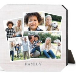 Desktop Plaques: Woodgrain Montage Desktop Plaque, Ticket, 5 x 5 inches, Grey found on Bargain Bro from shutterfly.com for USD $22.79