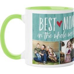 Mugs: Best Mom Mug, Green, 11oz, Blue, Ceramic Mug