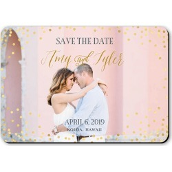 Save the Date Cards: Effervescent Sparkle Save The Date, Rounded Corners, Pink, 5x3 Magnet Card found on Bargain Bro Philippines from shutterfly.com for $21.45
