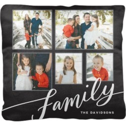 Pillows: Tilted Family Script Pillow, Cotton Weave, Pillow (Ivory), 18 x 18, Single-sided, Grey found on Bargain Bro from shutterfly.com for USD $37.98
