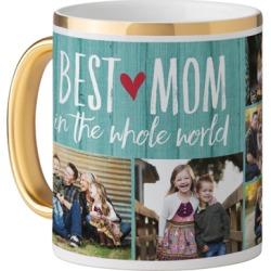 Mugs: Best Mom Mug, Gold Handle, 11oz, Blue, Ceramic Mug
