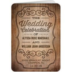 Wedding Program Cards: Rustic Romance Wedding Program, Brown, 5x7 Folded Program