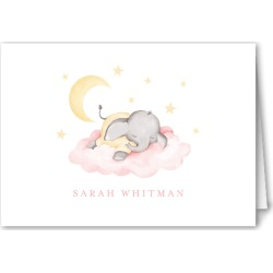 Thank You Cards: Elephant Slumber Thank You Card, Pink, 3x5 Folded Card found on Bargain Bro India from shutterfly.com for $27.48
