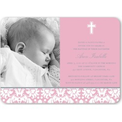 Baptism Baroque Pink Baptism Invitation, Rounded Corners found on Bargain Bro India from shutterfly.com for $2.79