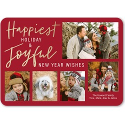 Holiday Cards: Handwritten Happiness Holiday Card, Rounded Corners, 5x7 Photo Card