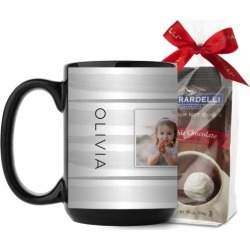 Painterly Stripes Mug, Black, with Ghirardelli Premium Hot Cocoa, 15oz, Grey found on Bargain Bro India from shutterfly.com for $26.98