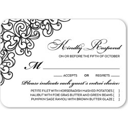 RSVP Cards: Sparkling Lace Wedding Response Card, Rounded Corners, Black found on Bargain Bro Philippines from shutterfly.com for $3.93