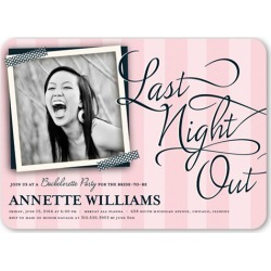 Bachelorette Party Invitations: Last Night Out Bachelorette Party Invitation, Rounded Corners, Pink, 5x7 Flat Card found on Bargain Bro Philippines from shutterfly.com for $3.13