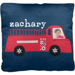 Pillows: Transportation Fire Truck Pillow, Cotton Weave, Pillow, 16 x 16, Double-sided, Blue found on Bargain Bro from shutterfly.com for USD $37.98