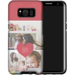 Heart Monogram Samsung Galaxy Case, Silicone liner case, Glossy, Samsung Galaxy S8, White