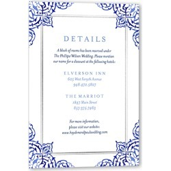 Enclosure Cards: Illuminated Damask Wedding Enclosure Card, Square Corners, Blue