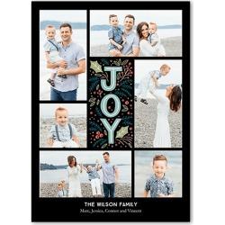 Holiday Cards: Joyous Laurels,  Card, Square Corners, Black