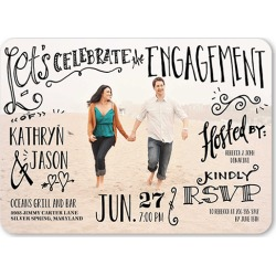 Whimsical Writing Engagement Party Invitation, Rounded Corners, Dynamiccolor found on Bargain Bro India from shutterfly.com for $2.94