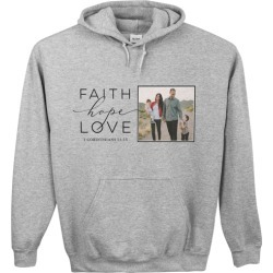 Custom Hoodies: Faith Hope Love Gallery Custom Hoodie, ADULT_HOODIE_SINGLE_SIDED, L, Heather Grey, DynamicColor, Adult Unisex found on Bargain Bro from shutterfly.com for USD $37.99