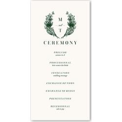 Wedding Program Cards: Penned Garden Wedding Program, Green, 4x8 Flat Program