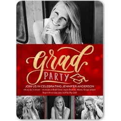Graduation Invitations: A Grad Party,  Invitation, Rounded Corners, Red found on Bargain Bro India from shutterfly.com for $3.39