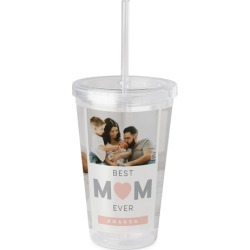 Travel Mugs: Mom Collage Acrylic Tumbler with Straw, 16oz, Pink found on Bargain Bro India from shutterfly.com for $29.98