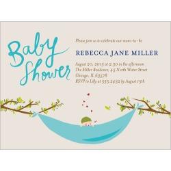 Baby Shower Invitation: Baby Hammock, Square, Beige