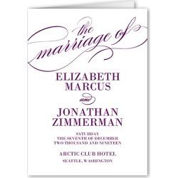 Wedding Program Cards: Modish Marriage Wedding Program, Purple, 5x7 Folded Program