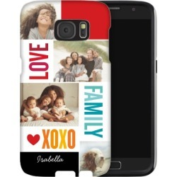 Family Love XOXO Samsung Galaxy Case, Silicone liner case, Glossy, Samsung Galaxy S7, White