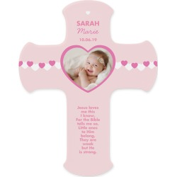 Baby Girl Hearts Wall Cross, Pink