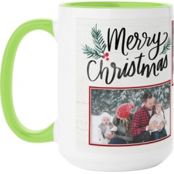 Mugs: Merry and Bright Christmas Mug, Green, 15oz, Red, Ceramic Mug found on Bargain Bro Philippines from shutterfly.com for $21.99