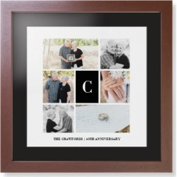 Framed Prints: Classic Initial Collage Framed Print, Brown, Contemporary, White, Black, Single piece, 16x16, White found on Bargain Bro Philippines from shutterfly.com for $119.98