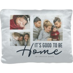 Pillows: Good To Be Home Script Pillow, Cotton Weave, Pillow, 12 x 16, Double-sided, Grey found on Bargain Bro from shutterfly.com for USD $34.18