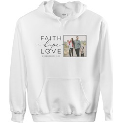 Custom Hoodies: Faith Hope Love Gallery Custom Hoodie, ADULT_HOODIE_DOUBLE_SIDED, S, White, Black, Adult Unisex found on Bargain Bro from shutterfly.com for USD $41.79