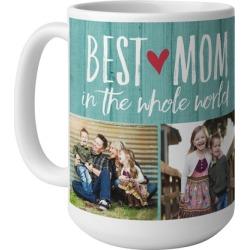 Mugs: Best Mom Mug, White, 15oz, Blue, Ceramic Mug