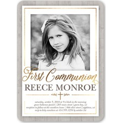 First Communion Invitations: Wooden Christening Communion Invitation, Rounded Corners, White, 5x7 Flat Card found on Bargain Bro India from shutterfly.com for $2.89