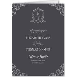 Wedding Program Cards: Classic Herald Wedding Program, Grey, 5x7 Folded Program