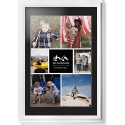 Framed Prints: Adventure Outdoors Collage of Six Framed Print, White, Classic, White, Black, Single piece, 20x30, White found on Bargain Bro from shutterfly.com for USD $132.98