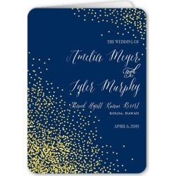 Wedding Program Cards: Effervescent Sparkle Wedding Program, Blue, 5x7 Folded Program
