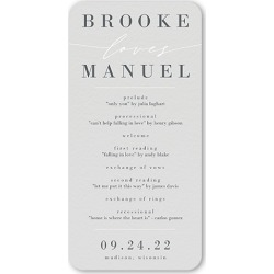 Wedding Program Cards: Simple Loves Wedding Program, Grey, 4x8 Flat Program