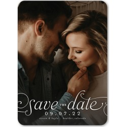 Save the Date Cards: Romantic Flourish Save The Date, Rounded Corners, White, 5x7 Flat Card found on Bargain Bro India from shutterfly.com for $2.89
