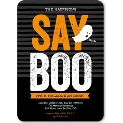 Say Boo Halloween Invitation, Rounded Corners, Black found on Bargain Bro India from shutterfly.com for $2.79