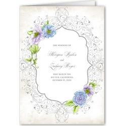 Wedding Program Cards: Elegant Enchantment Wedding Program, Blue, 5x7 Folded Program