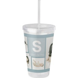 Travel Mugs: Block Monogram Acrylic Tumbler with Straw, 16oz, Blue found on Bargain Bro India from shutterfly.com for $29.98