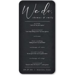 Wedding Program Cards: Refined Script Wedding Program, Grey, 4x8 Flat Program