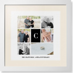Framed Prints: Classic Initial Collage Framed Print, White, Contemporary, None, Cream, Single piece, 16x16, White found on Bargain Bro Philippines from shutterfly.com for $119.98