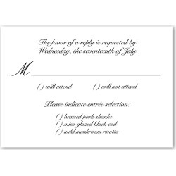 RSVP Cards: Minimal Script Wedding Response Card, Square Corners, White found on Bargain Bro India from shutterfly.com for $31.40