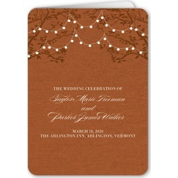 Wedding Program Cards: Enlightened Evening Wedding Program, Orange, 5x7 Folded Program
