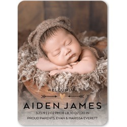 Birth Announcements: Directional Heart Birth Announcement, Rounded Corners, Black, 5x7 Flat Card found on Bargain Bro India from shutterfly.com for $2.59
